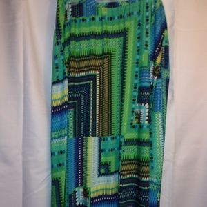 Sunny Leigh Sz 2X Turquoise Pattern Maxi Skirt